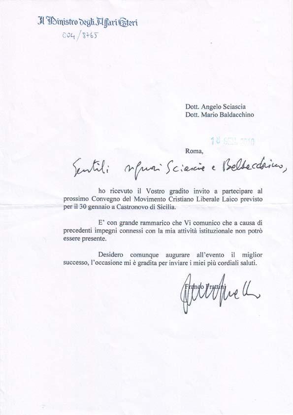 Lettera del ministro Franco Frattini inviata per il precedente incontro del Corso di studi etico culturale