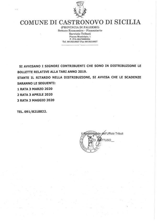 AVVISO SCADENZA TARI ANNO 2019