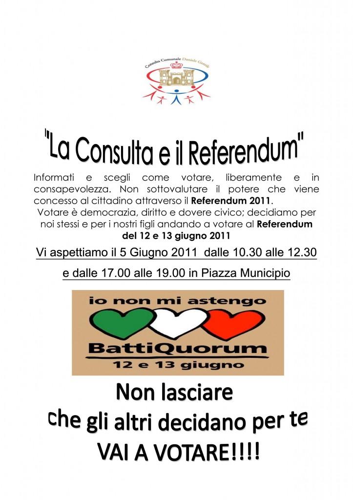 """La Consulta """"Daniele Gentile"""" e il referendum"""