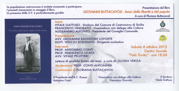 """Presentazione del libro """"Giovanni Buttacavoli – Amici della libertà e del popolo"""""""