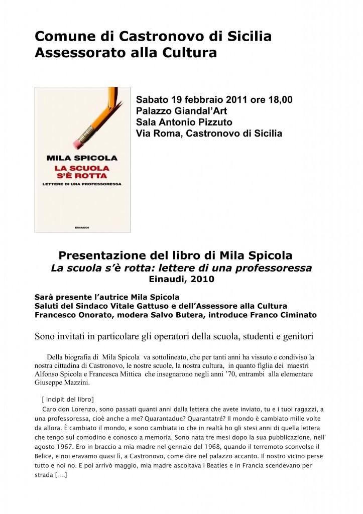"""Presentazione del libro di Mila Spicola """"La scuola s'è rotta"""""""