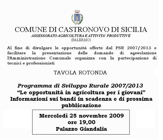 Tavola Rotonda Sulle Opportunità Di Bandi Per L'Agricoltura. Castronovo, Palazzo Giandalia 25 Novembre Ore 19